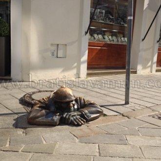 Man At Work In Bratislava With Bratislavaman