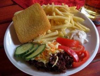 Fried Cheese French Fries Tartar Sauce Garnish